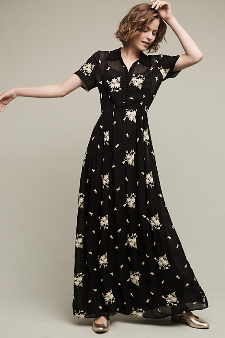 Cute black maxi dress from anthropologie